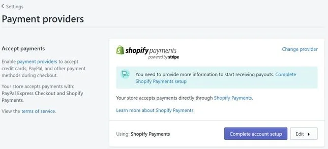 shopify payment provider